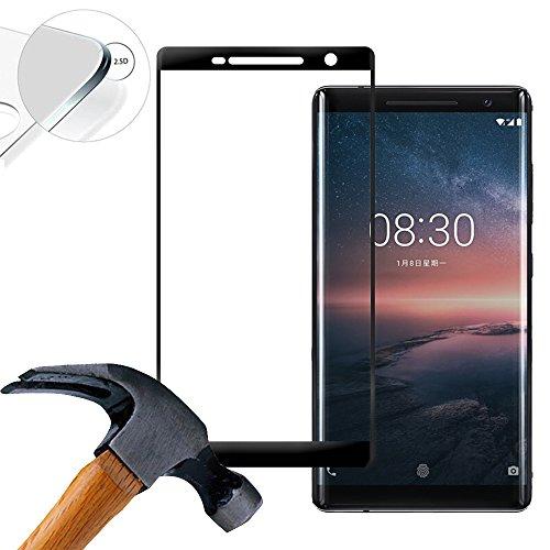 Lusee 2 x Pack (piena copertura) 3D Protezione Schermo vetro temperato per Nokia 8 Sirocco 5.5 Pollice Film ultra-duro vetro 9H (Nero)