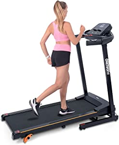 OneTwoFit Treadmills for Home Electric Motorized, Folding Treadmill Workout Running Machine with LCD and Mobile Phone Holder, Compact Treadmill for Office Gym Exercise Walking Jogging Incline Fitness