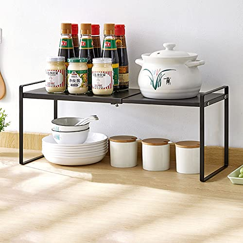 Estantería para especias, estante de cocina extensible, organizador de cocina, estante de metal para organizar encimeras y armarios, ahorra espacio, negro (36 cm – 60 cm)