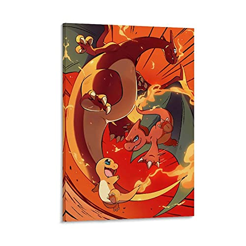 DRAGON VINES Póster de Pokémon Pocket Monsters Charmander Charmeleon Charizard Anime Cool Poster Pintura Lienzo para decoración moderna del hogar 60 x 90 cm