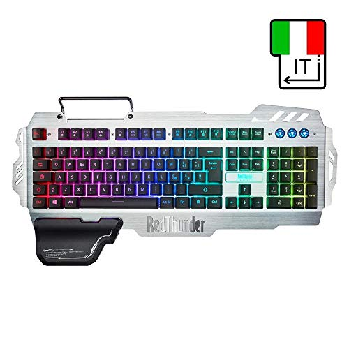 SDCM RedThunder K900 RGB Wired Gaming Keyboard Mechanical Feel 25 Keys Anti-ghosting Ergonomics for PC Russian Spanish French (Color : IT Layout)