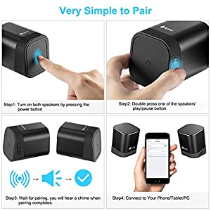 Portable Bluetooth Speaker Dual Wireless Speakers with True Wireless Stereo Technology (TWS), Strong Bass and Powerful Volume, Bluetooth 4.2 for iPhone, Echo, Android and More