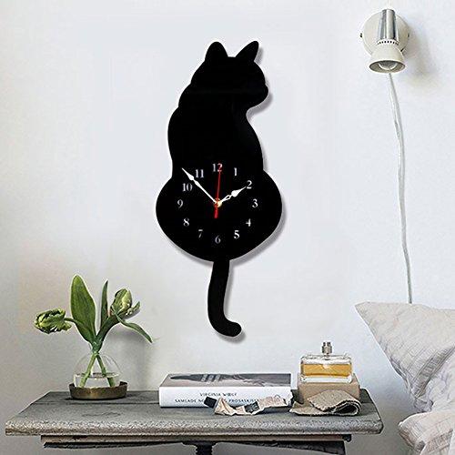 Topkey Wanduhr Katzen Acryl Wanduhr mit Schwingendem Schwanz Pendel für Wohnzimmer Schlafzimmer Küche Heimdeko – (42 cm x 18 cm) Schwarz