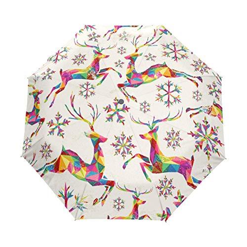 Suzanne Betty Regenschirm, automatisches Öffnen, Schließen, Retro, bunte Dreiecke, Rentier, Schneeflocken, winddicht, kompakt, faltbar
