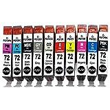B-T 10X PGI72 Compatibile Cartucce d'inchiostro Sostituzione per Canon PGI-72 PGI72PBK, PGI72MBK, PGI72C, PGI72M, PGI72Y, PGI72PC, R, PM, GY, CO) Compatibile con Canon Pixma PRO-10 PRO10S, Stampante