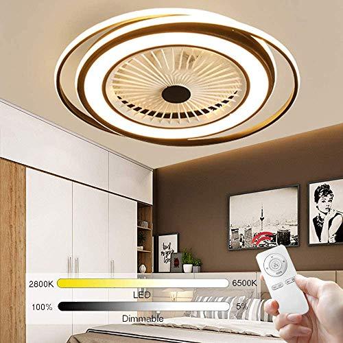 LED Deckenventilator Leise Mit Fernbedienung Licht Moderne Dimmbare Ventilator Fan Deckenlampe Fan Lampe Beleuchtung Deckenleuchte Rund Rustikal Für Schlafzimmer Wohnzimmer Büro,Schwarz