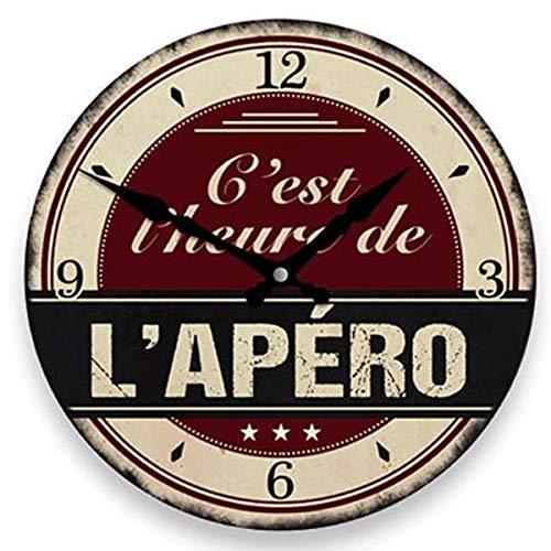 Les Trésors De Lily [P8537 - Horloge Murale 'Apéro Vintage' Marron Beige (C'est l'heure de l'Apéro) - 28 cm