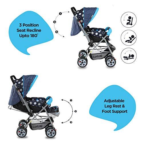 LuvLap Sunshine Stroller/Pram, Easy Fold, for Newborn Baby/Kids, 0-3 Years (Sky Blue) 5