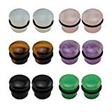 7 16 plugs for ears - 6 Pairs Mixed Stone Single Flare Ear Plugs Gauges Tunnels Expander with Silicone O-Ring (Gauge=7/16