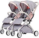 Sillas de paseo Doble Cochecito de bebé Trolley Desmontable Niño Ligero Plegable del armazón del Carro portátil de Doble Carro de aleación de Aluminio de Plata Carritos (Color : Lotus Pink)
