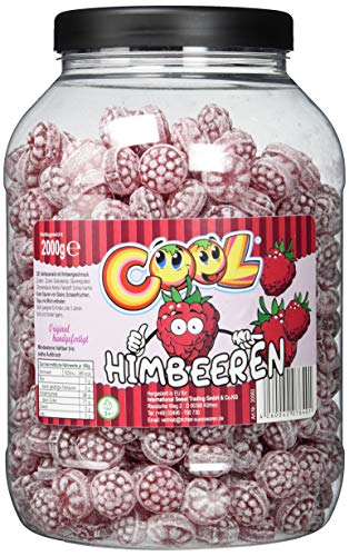 Cool Klassische Himbeerdrops | Bonbons mit Himbeergeschmack | 2kg Dose