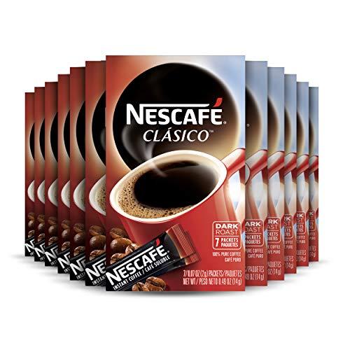 NESCAFÉ CLÁSICO Dark Roast Instant Coffee, 7 Count (Pack of 12)