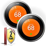 Nest Learning Thermostat (3rd Generation, White) (2 Pack, Polished Steel)