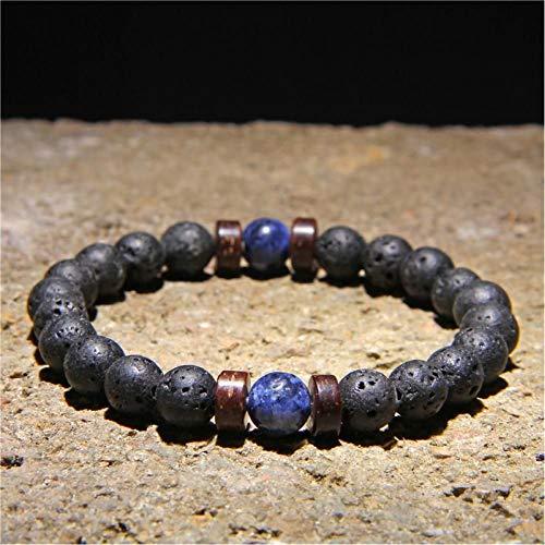 KJFUN Armband Maansteen Kralen Tibetaanse Boeddha Armband Vintage Chakra Lava Stenen Armband Mannen Sieraden