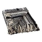 DII Braided Striped Throw, 50x60, Black