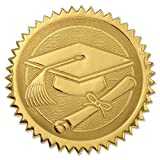 PaperDirect Embossed Graduation Cap & Diploma Gold Certificate Seals, 102 Pack