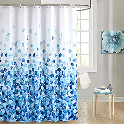 SHU UFANRO Shower Curtain with 12 Hooks, 72 x 72 Inch Polyester Fabric Waterproof Shower Curtains for Bathroom Machine Washable (BlueFlower)