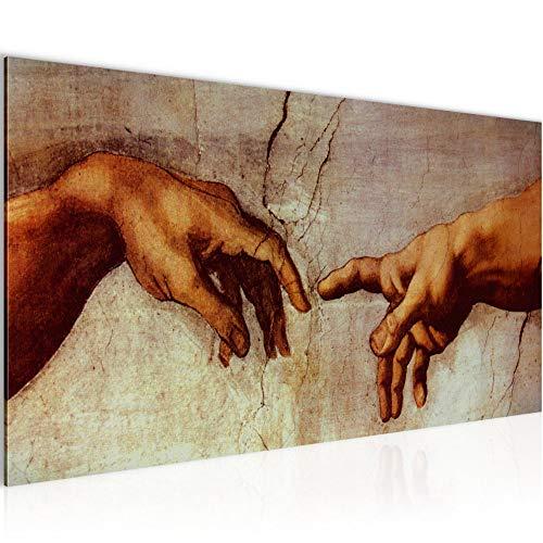 Bilder Creation of Adam MichelAngelo Wandbild Vlies Leinwand Bild XXL Format Wandbilder Wohnzimmer Wohnung Deko MADE IN GERMANY Fertig zum Aufhängen 700112a