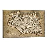 GHASDF Elder Scrolls Skyrim - Póster decorativo para pared, diseño de mapa de Skyrim (40 x 60 cm)