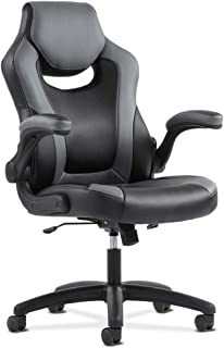 Sadie Racing Gaming Computer Chair- Flip-Up Arms, Black and Gray Leather (HVST911)