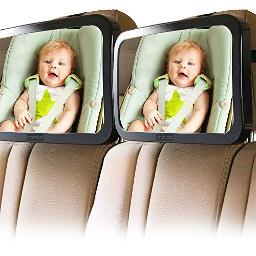 Enovoe Mirror for Baby Car Seat Rear Facing - 2 Pack - Wide Convex Back Seat Mirror is Shatterproof and Adjustable - 360 Swivel Backseat Carseat Mirror Helps Keep an Eye on Your Infant