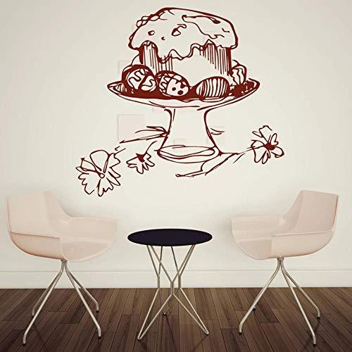 Muurtattoo, vinyl, muurstickers, keuken, Pasen, met eieren, beschilderd, ramen, Pasen, zelfklevend, interieurdecoratie, bloemen, muurkunst