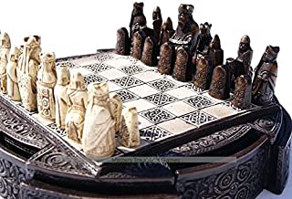 Masters Traditional Games Isle of Lewis Compact Chess Set - 9 inches, Brown Cabinet