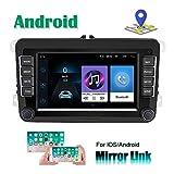 CAMECHO Android Radio de Voiture pour VW Navigation GPS 7 Pouces à écran Tactile HD Récepteur Bluetooth AM FM pour Passat Golf Jetta EOS Polo Siège Touran Sharan