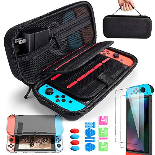 BANGTING 14 en 1 Kit de Accesorios Compatible con Nintendo Switch, 1PCS Funda de Transporte 1PCS Transparente Carcasa 2PCS Kit de Cristal Templado 4PCS Pulgar Grips Compatible con Nintendo Switch