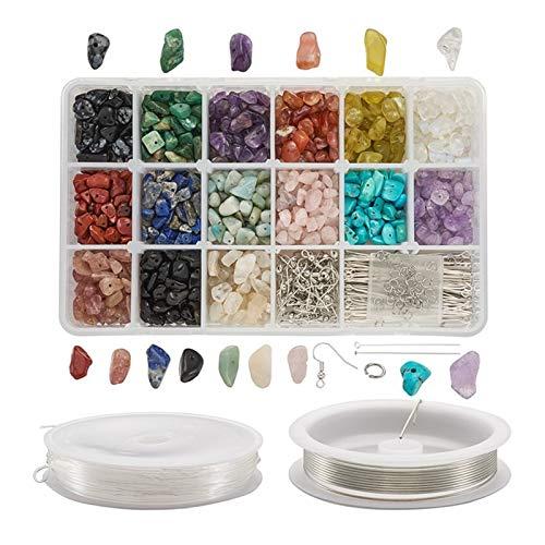 Colorful Linght Cuentas de piedra natural y sintética Pendiente de latón Hallazgos de cobre Alambre de cobre y hilo de cristal elástico para la fabricación de joyas DIY ( Metal color : 1 set )
