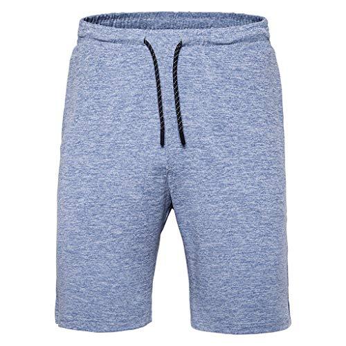 Subfamily Pantalon Corto - Pantalones Cortos de Moda Casual - Moda Hombre Verano Casual Cintura Elástica Sólida Pantalones Cortos Pantalones Azul L