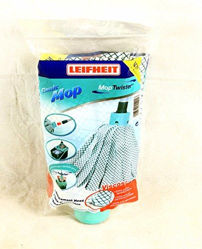 Leifheit Ersatzkopf Classic Wringmop, mit Viskose und Polyester für hartnäckige Flecken auf Fliesen und Steinböden, extra saufgähige Viskose, waschbar bei 60°C, flexible Mopkopf-Streifen