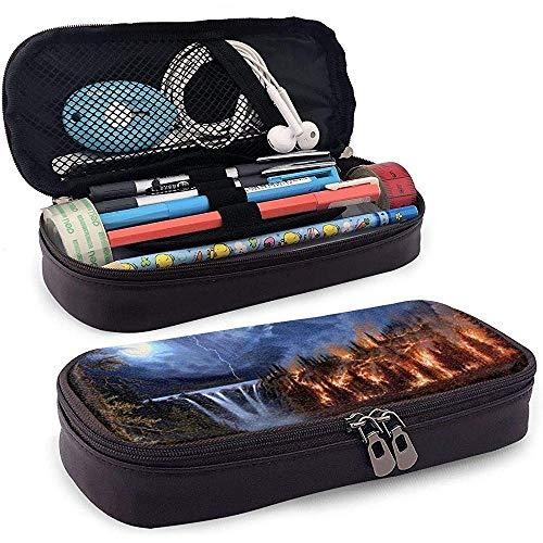 Estuche de lápices de cuero de la PU con cremallera, estuche de marcador de almacenamiento de gran capacidad de cascada Estuche para lápices, bolsa de maquillaje-JS-1X7