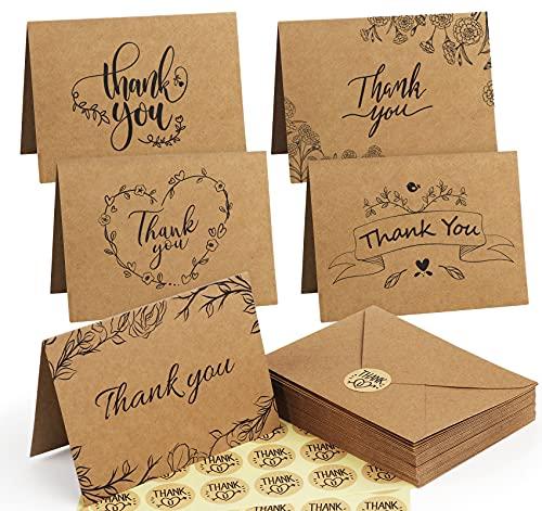 Mocraft 40 Stk Dankeskarten mit Umschlägen Kraftpapier Klappkarte Grußkarten Thank You card Braune Kartenset, 48 Aufkleber, 10X15cm