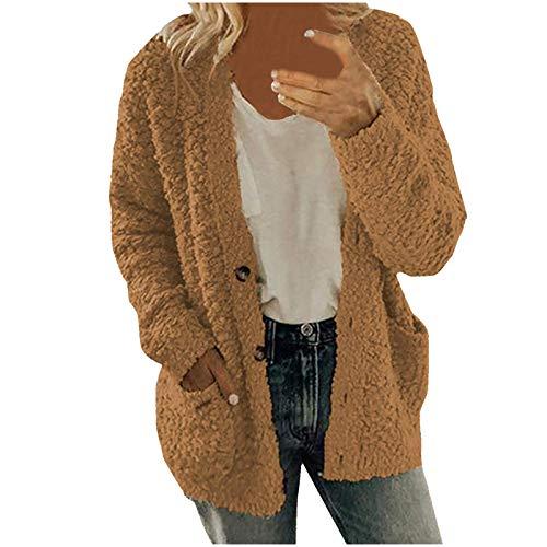 Whhhciy Cárdigan de punto para mujer, moda de invierno, abrigo de felpa informal, abrigo de otoño, cálido de manga larga monocromática, chaqueta suelta., A café, XXXL