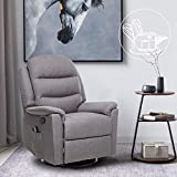 ULTIFIT Fabric Massage Recliner Chair 360° Swivel Recliner Single Sofa Recliner Chair Padded Seat Recliner Grey