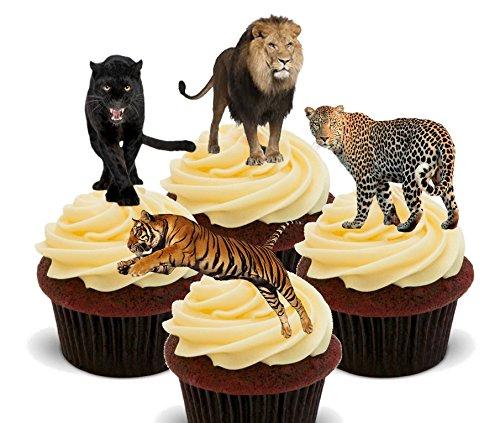 Made4You Wild Katzen. Löwe, Tiger, Panther und Leopard–Essbare Kuchen Dekorationen–Stand-Up Wafer Cupcake Topper, 12er-Pack