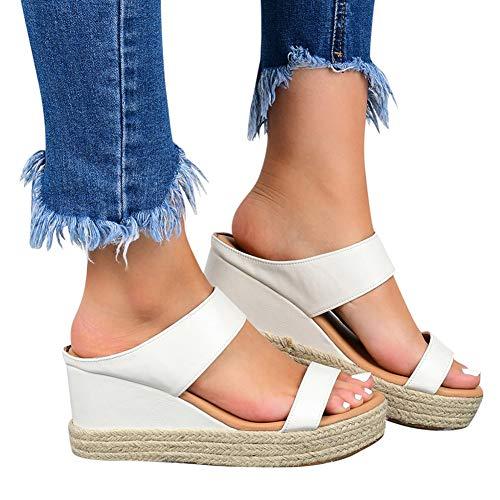 XXZ Sandalias con Punta Abierta para Mujer de Cuero Cómodo Sandalias de Caminar Antideslizantes Zapatos de Viaje Verano Playa,3white,40