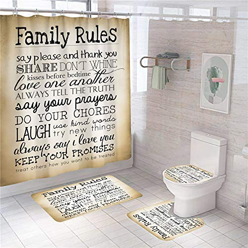 4 Pcs Family Rules Shower Curtain Sets Non-Slip Rugs Toilet Lid Cover and Bath Mats Kids Educational Shower Curtain with 12 Hooks Waterproof Shower Curtain for Bathroom