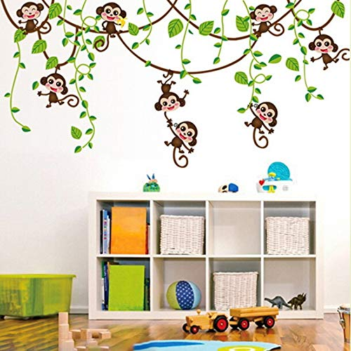 Muursticker Anime Monkeys Animal Planten PVC Wallpaper Poster Bedroom Baby Kids Child Van Het Huis Van DIY Decoratie Vinyl Muurstickers Decals