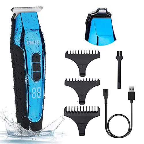 Hair Clippers, Waterproof T Blade Clippers Rechargeable Professional Close Cutting Baldheaded Trimmer for Men Self Haircut Cordless Electric Beard Trimmer Zero Gapped with 3 Guide Combs
