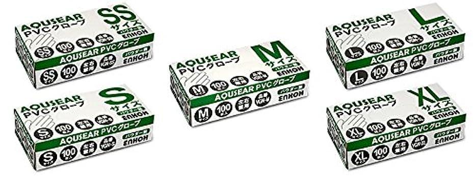 西プラカードクモAQUSEAR PVC プラスチックグローブ Mサイズ パウダー無 VGN-M 100枚箱入