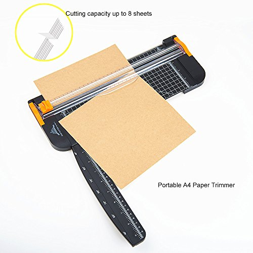 Paper Trimmers - 12 Inch A4 Titanium Paper Cutter with Automatic Security Safeguard Guillotine and Slide Ruler Design for Coupon Craft Paper Label or Photo (Black) Photo #5