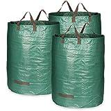 com-four® 3X Bolsa de jardín con Asas de Transporte - Bolsa de residuos de jardín Plegable XL - Cubo Plegable a Prueba de lágrimas para Hojas y residuos Verdes (300 l - 3 Piezas)
