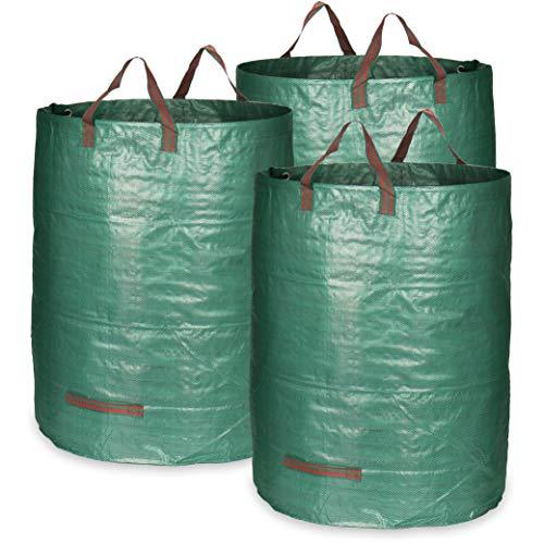 COM-FOUR® 3x Tuintas met draaggrepen – Opvouwbare tuinafvalzak XL – Scheurvaste opvouwbare afvalbak voor bladeren en…