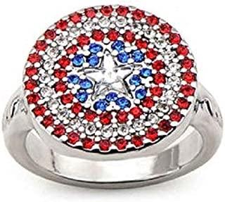 Captain America Logo Bling - Stainless Steel Premium Quality Womens Ring, Size - 9
