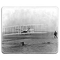 アートマウスパッド-ライトブラザーズ'のクラシック写真付き天然ゴムマウスパッド-初飛行-ステッチエッジ-9.5x7.9インチ 18x22cm