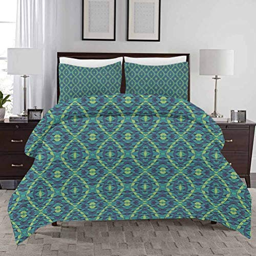 Geometric Bedding Duvet Cover Set King Size Rhombuses and Triangles with Curved Stripes Retro Pattern Abstract Illustration with Zipper Closure Ultra Soft Comfy Decorative 3 Piece Bedding Set