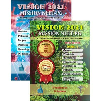 Vision 2021 Mission NEET PG 3rd/2020 (2 Vols) with 209 Repeats, includes 2020, 2019, 2018 NEET papers