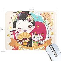 Jiemeil マウスパッド 高級感 おしゃれ 滑り止め PC かっこいい かわいい プレゼント ラップトップ などに 和柄 和風 花柄 歌舞伎柄 招き猫柄